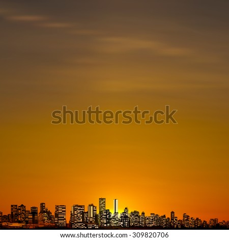 abstract city brown background with panorama of vancouver - stock vector