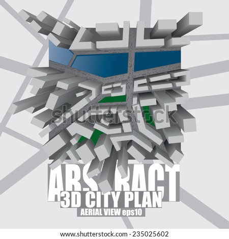 abstract city design plan with extruded buildings - stock vector
