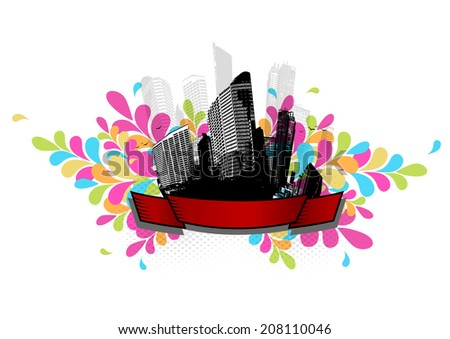 Abstract city illustration with stripe and place for your text. - stock vector