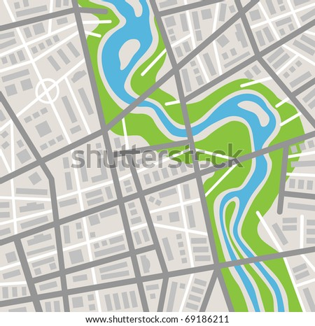 abstract city map - stock vector