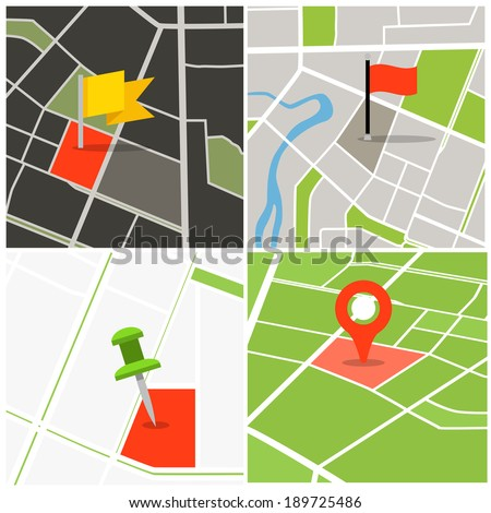 Abstract city map collection with pins - stock vector