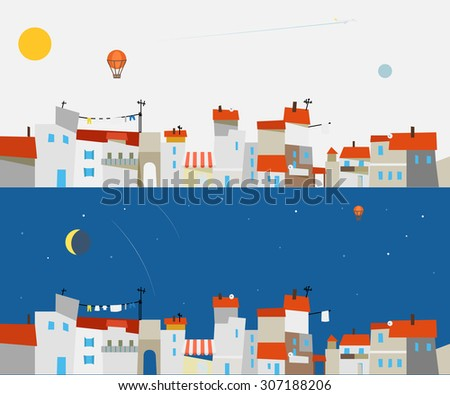 Abstract city map illustration set. Ftat design