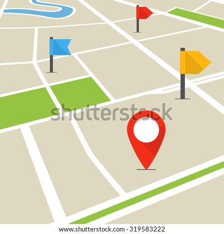 Abstract city map in perspective  - stock vector