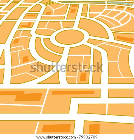 Abstract city map in perspective. - stock vector