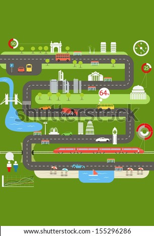 Abstract city map with infographic elements - stock vector