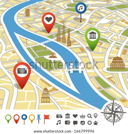 Abstract city map with places of interest - stock vector