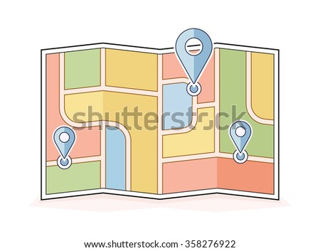 Abstract city map with pointers. Navigation and route illustration. Vector icon for address and contact web page - stock vector