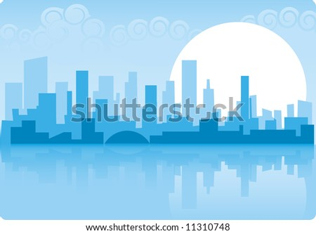 Abstract city sky-line background with big sun - stock vector