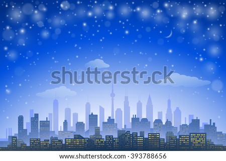 Abstract city skyline with urban skyscrapers at night - stock vector