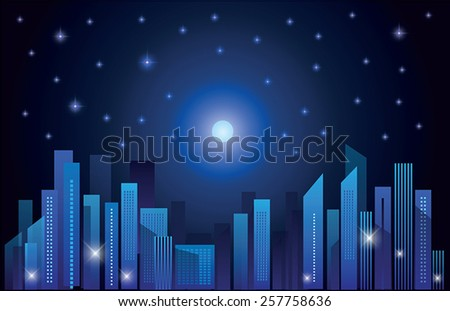 Abstract city skylines at night. Vector illustration - stock vector