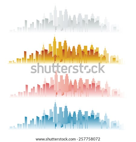 Abstract city skylines in four color versions. Vector illustration