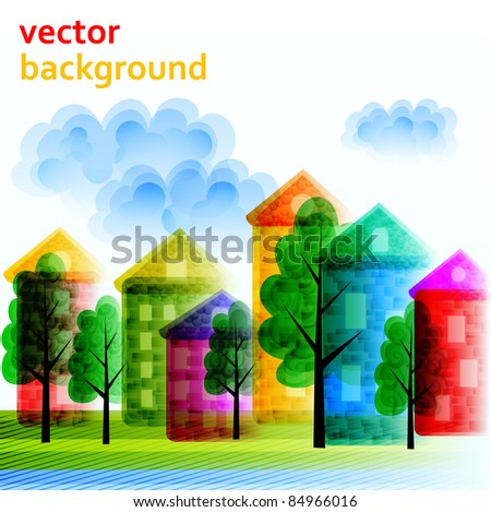 Abstract city vector background - stock vector