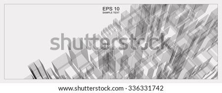 Abstract city wireframe background of building. Vector blueprint background for template design. - stock vector