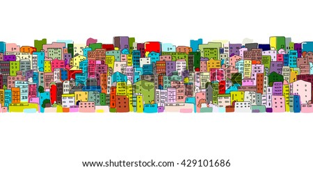 Abstract cityscape background, seamless pattern for your design - stock vector