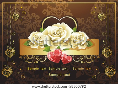 Abstract Classical congratulation card with glossy red hearts and roses. Vector frame background with Place for your text. Saint Valentine's Day - stock vector