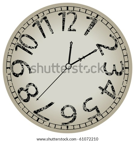 abstract clock against white background, vector art illustration - stock vector