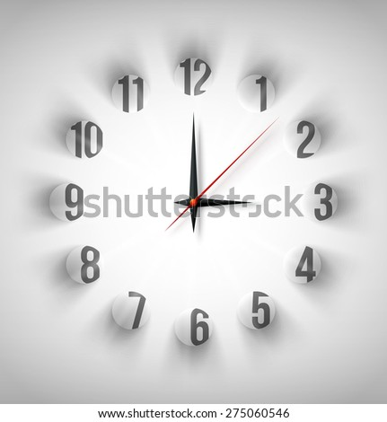 Abstract clock face with white circles with light and shadow. Vector illustration