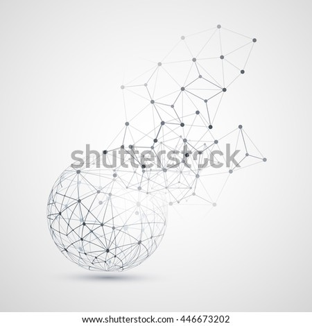 Abstract Cloud Computing and Network Connections Concept Design with Transparent Geometric Mesh, Wireframe Sphere- Illustration in Editable Vector Format - stock vector