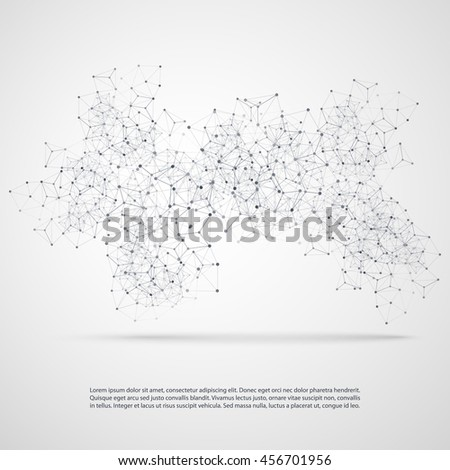 Abstract Cloud Computing and Network Connections Concept Design with Transparent Geometric Mesh - Illustration in Editable Vector Format - stock vector
