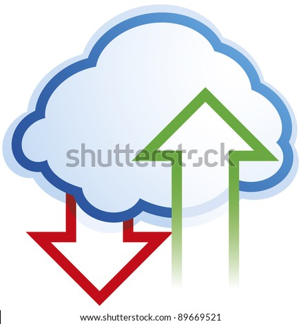 Abstract cloud computing symbol on white background - vector - stock vector