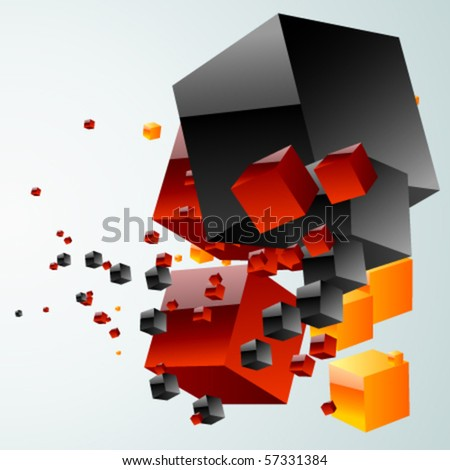 abstract cloud of cubes - stock vector
