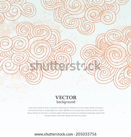 abstract cloud sky vector grunge wallpaper background pattern cover and card design - stock vector