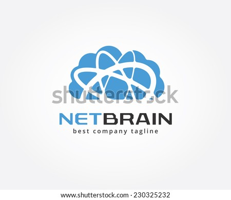 Abstract cloud storage vector logo icon concept. Logotype template for branding and design - stock vector
