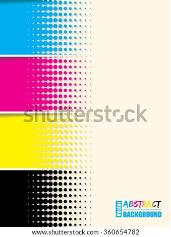 Abstract cmyk halftone background template with sample text - stock vector