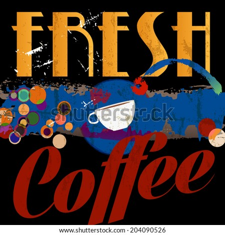 abstract coffee background, design template, grungy, with strokes, splashes and circles - stock vector