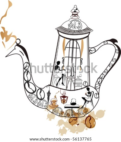 Abstract coffee-pot as a restaurant - stock vector