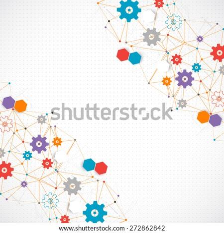 Abstract cogwheel technology net background. Vector - stock vector