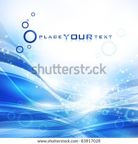 Abstract cold water with lots of bubbles. Vector - stock vector