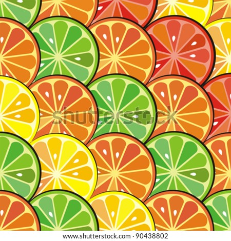 Abstract color background with citrus-fruit of grapefruit, orange and lemon slices. citrus  pattern. Vector Illustration