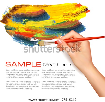 Abstract color background with hand. Vector illustration. - stock vector