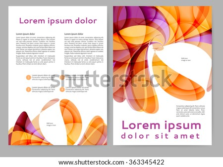 Abstract color brochure template with abstract lines and waves for your business
