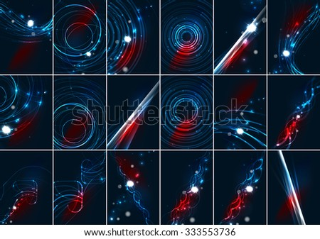 Abstract color glowing lines in dark space with stars and light effects. Futuristic background set with copyspace for your message - stock vector