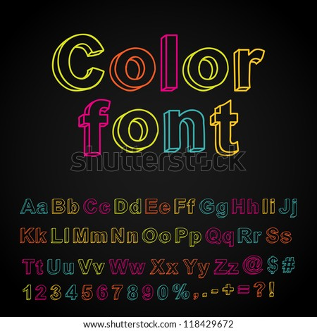 Abstract color hand drawing font. Vector illustration. - stock vector