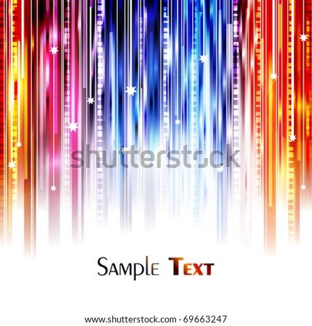 Abstract color lines with the stars. Vector background - stock vector
