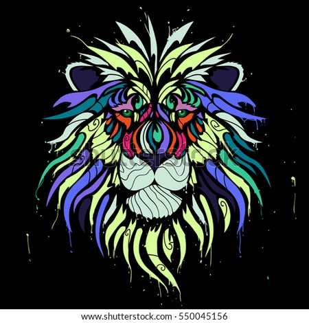 abstract color lion