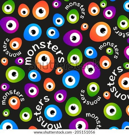 Abstract color pattern cartoon monsters eyes on a dark background. Vector template. - stock vector
