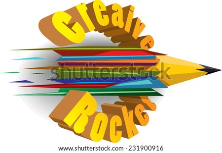 abstract color pencil with text - stock vector