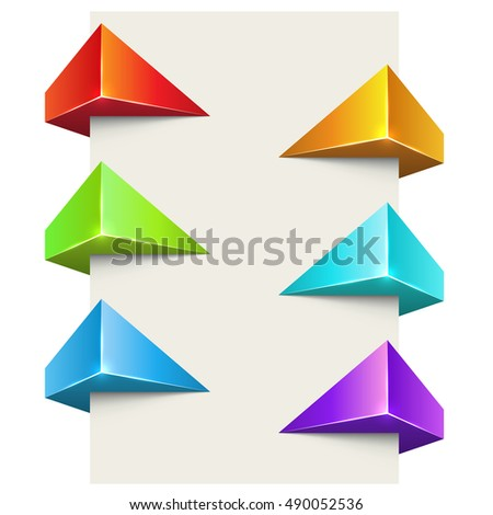 Abstract color polygonal 3D label wrapped around page vector set.