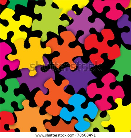 Abstract color puzzle scatter background - stock vector