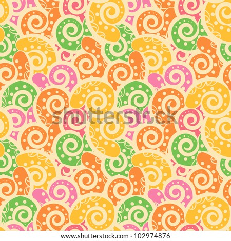 Abstract Colored Background Tiled with paisley. Seamless Texture - stock vector