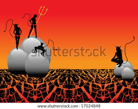 Abstract colored background with devil women standing on shiny stones - stock vector