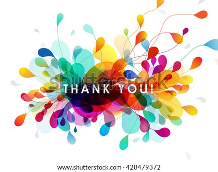 Abstract colored background with leafs and Thank you quotation. - stock vector
