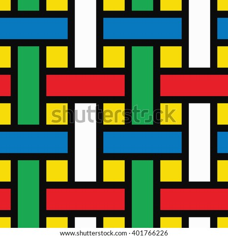 Abstract colored basket weave lattice geometric background. Seamless pattern.