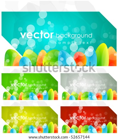 Abstract colored business cards - stock vector
