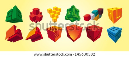 abstract colored cubes for design  - stock vector