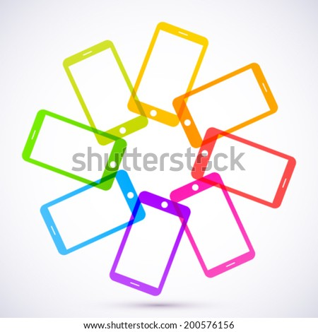 Abstract colored mobile phones. - stock vector